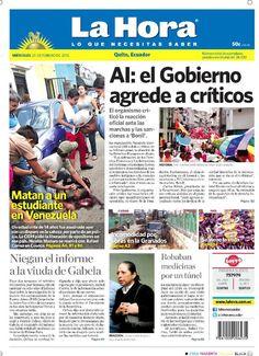 Los temas destacados son: Matan a un estudiante en Venezuela, Niegan el informe a viuda de Gabela, AI: el Gobierno agrede a críticos, Incomododad por obras en la Granados y Robaban medicinas por túnel.