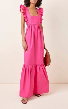 Self Portrait's maxi dress is the perfect pop of femme flare to add to your wardrobe, featuring an empire silhouette, ruffled embellishment throughout, and a square neckline. 70s Fashion, Fashion 2020, Women's Fashion Dresses, Couture Fashion, Womens Fashion, Winter Fashion, Fashion Tips, Dress Skirt, Dress Up
