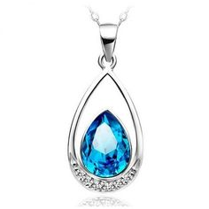 Free Shipping 2014 Women crystal pendant jewelry female models 925 sterling silver necklace fashion necklace Blue Heart droplets