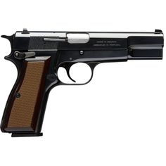Browning Hi Power Pistol -Even with the double-column magazine, the grip is narrow to neatly accommodate nearly every hand size, and the single-action trigger provides a smooth, consistent pull. As reliable, accurate and easy to shoot as ever. 9mm Pistol, Revolvers, Steel Barrel, Home Defense, Cool Guns, Airsoft Guns, Guns And Ammo, Shotgun, Firearms