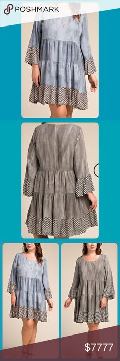 NWT PLUS HEATHER BLUE RUFFLE DRESS OR TUNIC! NWT PLUS HEATHER BLUE, VERY MILD TIE-DYE RUFFLE DRESS OR TUNIC!! Dresses Strapless