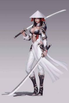 Warrior girl in man-weakening outfit Fantasy Female Warrior, Fantasy Women, Fantasy Girl, Female Art, Female Samurai Art, Woman Warrior, Fantasy Samurai, Anime Warrior Girl, Samurai Anime