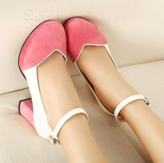 Sweet Retro Colorful Low Chunky Heels. They come black too!