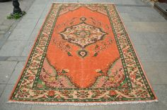 Orange Turkish Rug , Traditional NON Overdyed Rug, Handmade Area Rug, Vintage oushak floor Rug  (278 cm x 170 cm) 9,1 ft x 5,5 ft model: 840 by OushakRugs on Etsy