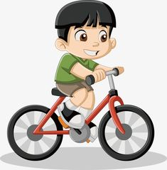 ded6dad3d2 Little Boy Riding A Bike Vector