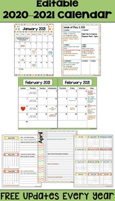 This 2020-2021 Calendar template is editable and printable and is perfect for teachers, students at school, or for kids.  There are 6 different layouts with weekly, monthly, and yearly calendars. The weekly layouts will make your life easier for your lesson plans. The 2 page layout would be great for your teacher binder.  When you purchase this calendar you will also be able to download free updates every year.