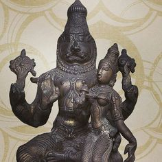 Bronze Narsingh avatar and lakshmiji....more at http://www.indianshelf.com/category/bronze-statement-pieces/....