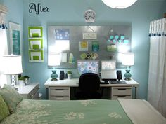 i love the magnetic board above the desk that serves as extra storage and display.