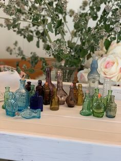 Bulk lot of Miniature Coloured Bottles - Vintage Collectable assorted lot -Small Coloured Bottles- Different Shapes and Sizes Strawberry Shortcake Doll, Willow Pattern, Egg Cups, Different Shapes, See Photo, Glass Vase, Bottles, Miniatures, Table Decorations