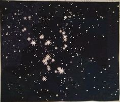"""Orion, 60"""" x 70.5"""", c. 2013 by Ruth B. McDowell.  Large art quilt: machine pieced, machine quilted, cottons, silks, cotton batting, antique shell buttons"""