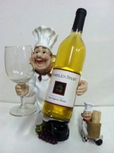 Amazon Com Wine And Glass Fat Italian Chef Holder Matching Toothpick Holder Decor