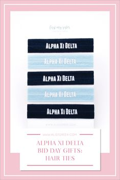 Sorority hair ties are the easiest gift for any celebration: Recruitment, Bid Day, Back to School & Big/Little. Alpha Xi Delta Gifts | Alpha Xi Delta Bid Day | AXiD Hair Ties | Alpha Xi Delta Recruitment | Sorority Bid Day | Sorority Recruitment | Sorority Hair Tie Gifts | Sorority College Gift | Sorority New Member Gift Ideas #BidDayGifts #SororityHairTies Sorority Bid Day, College Sorority, Sorority Recruitment, Kappa Delta, Bid Day Gifts, Bid Day Themes, Hair Tie Bracelet, Alpha Sigma Alpha, College Gifts