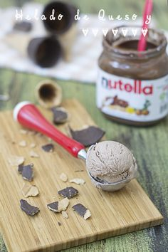 Cheese and Nutella icecream - Helado de queso y nutella #elasaltablogs