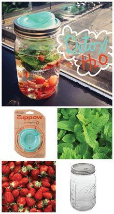 Detox water is cleansing and clarifying and such a simple way to stay healthy. Grab your favorite mason jar, add whatever fresh fruits and herbs you want (for example: strawberries and mint) give it a good shake and take it on the go with a Cuppow lid! These simple lids make spill-free sipping on the go even easier and 5% of all profits goes to domestic charities. Plus, Free shipping!