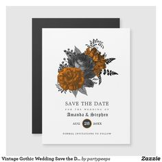 Vintage Gothic Wedding Save the Date Magnetic Invitation Gothic Wedding Invitations, Halloween Wedding Invitations, Unique Invitations, Wedding Invitation Design, Wedding Cards, Wedding Bells, Invites, October Wedding