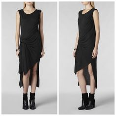 ⬇️AllSaints Riviera Jersey Dress NWT/New with tags. Color: Charcoal Marl. A combination of viscose and angora jersey creates a flattering draping that ensures the dress hangs effortlessly across the body. A transitional piece from day to night or pair with a leather jacket. Size XS.  trades. All Saints Dresses Asymmetrical