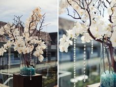 Love the orchids and the crystals; but i have to say i'd like it with less orchids (just a random one here and there as if they were blooming right off of the branches); i don't really like the aqua stones Baby Blue Weddings, Aqua Wedding, Trendy Wedding, Wedding Flowers, Dream Wedding, Wedding Day, Wedding Table, Diy Wedding, Wedding Stuff