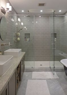 Contemporary Master Bathroom -like the size of the shower....dual overhead rain heads, good mix of contemporary wall tile and traditional floor tile