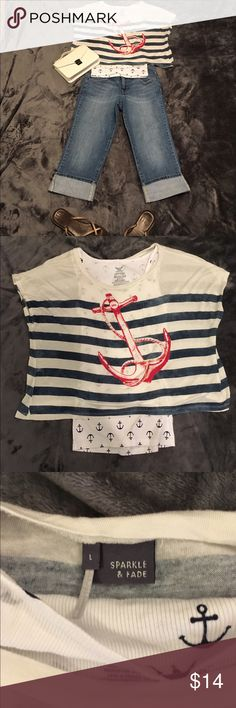 Cute tank top and overlay set, anchors ⚓️ Adorable nautical theme tank top and oversized over shirt, tank top is a size medium and the over shirt is a size large, good condition and gently used, capris in picture are available in another listing. Sparkle & Fade Tops