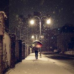 Snowy night.