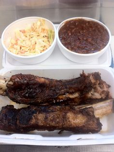 Beef rib meal with smoked bake beans and coleslaw