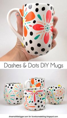 Cheap Crafts To Make and Sell - Dashes And Dots Floral Mugs - Inexpensive Ideas for DIY Craft Projects You Can Make and Sell On Etsy, at Craft Fairs, Online and in Stores. Quick and Cheap DIY Ideas that Adults and Even Teens Can Make on A Budget Mug Crafts, Sharpie Crafts, Sharpie Art, Sharpies, Coffee Cup Crafts, Plate Crafts, Baby Crafts, Diy Craft Projects, Easy Diy Crafts