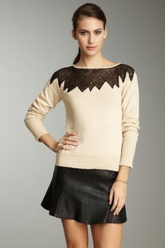 Catherine Malandrino Lace Shoulder Sweater on HauteLook