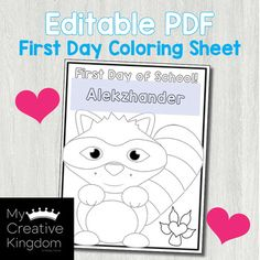 Use this EDITABLE PDF Kissing Hand First Day Coloring Page to start the year off right! Type in your class names to make it editable. Great to have ready on desks for first day seat assignments and entry-task when everyone is trickling in. ************************************************************************* No need to download fonts or Name Coloring Pages, Coloring Sheets, Hand Coloring, Preschool First Week, The Kissing Hand, One Day, First Day Of School, Toddler Activities, Pdf