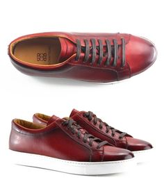 Sneakers en cuir de veau rouge - Finition patinée - Homme - LES CRAFTEURS | Le produit du jour est une très belle paire de sneakers pour homme proposées par le jeune marque française LES CRAFTEURS. Proposées en cuir de veau patiné de couleur rouge, ces baskets modèle Josh sont également en vente en bleu marine, prune et marron. On aime le travail du cuir pour lui donner un effet vieilli et sa semelle blanche épaisse qui donne un look très moderne à ces chaussures pour homme…