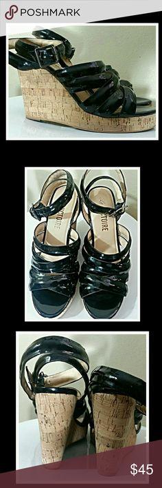SUMMER BLOWOUT. NO OFFERS PLEASE Pour LAVictoire black patent leather shoes size 7.5. Cork wedge. Good condition...lots of wear left. Pour la Victoire Shoes Wedges