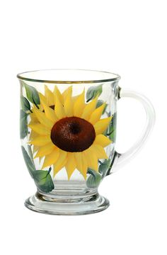 Bright golden yellow sunflower petals with brown centers and deep green leaves hand-painted encircling a 16 oz. quality footed cafe mug. Microwave safe; top-rack dishwasher safe; hand-washing preferre