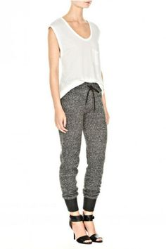 Alexander Wang Tweed Print Sweatpants -- I'd wear more comfy shoes Cool Outfits, Fashion Outfits, Womens Fashion, High Fashion, Alexander Wang, Sweatpants Style, Fashion Sweatpants, Fashion Corner, Comfortable Outfits