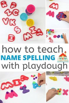 how to teach name spelling with playdough Pre School, Back To School, Name Practice, Preschool Names, Kinesthetic Learning, Parenting Toddlers, Parenting Hacks, Homemade Paint, Literacy Activities