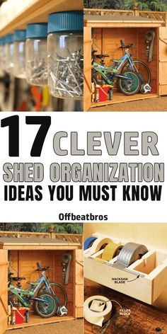Clever Shed Organization ideas to make the most of your shed storage. Glad I could find some awesome shed organization tips and tricks. Tool Shed Organizing, Storage Shed Organization, Garden Tool Storage, Small Space Organization, Barn Storage, Storage Sheds, Garage Ideas Storage, Small Garage Ideas, Backyard Storage