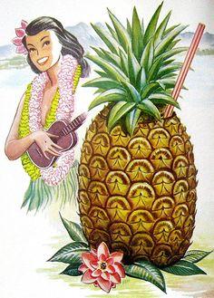 Page from 1956 cocktail menu from the Luau in Beverly Hills, from Arkiva Tropika Hawaiian Art, Hawaiian Tattoo, Vintage Hawaiian, Hawaiian Punch, Vintage Tiki, Vintage Art, Vintage Travel, Ukulele, Tiki Art