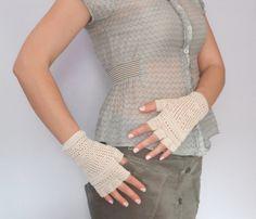 Ecru Lace Crochet Gloves. Spring Cotton Gloves. by InoriCreations