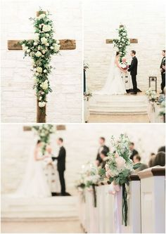 Christian Wedding Ideas: 25 Wedding Christ-centered & Cross Details wood cross with flowers indoor wedding backdrop / www. Wedding Ceremony Ideas, Wedding Altars, Rustic Wedding, Decor Wedding, Wedding Backdrops, Vintage Wedding Backdrop, Centerpiece Wedding, Wedding Ceremonies, Wedding Pins