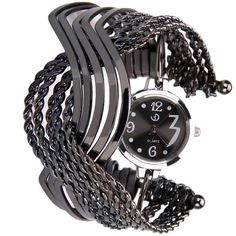 Gunmetal Black Crossed Bangles Collectible Analog Watch