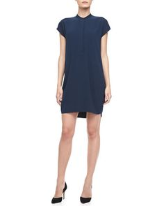 Cap-Sleeve Loose Dress, Coastal by Vince at Neiman Marcus.