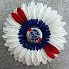 Items similar to Pabst Blue Ribbon Hair Flower on Etsy Making Clothes, How To Make Clothes, Flower Hair, Flowers In Hair, Ribbon Hair, Hair Bows, Our Wedding, Wedding Ideas, Pabst Blue Ribbon