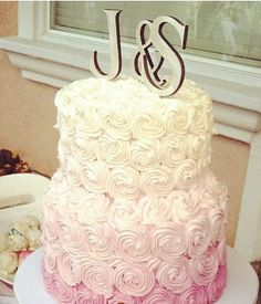 J & S Wood Cake Topper with metal sticks