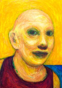 Old Fisherman : post modern impressionism portrait painting, colorful expressionist portrait, yellow color symbolism, facial expression, acrylic painting #9631, 2011 | Kazuya Akimoto Art Museum