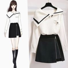 Off-the-shoulder lapel sweater + zip skirt – orchidmet Source by cbearzy outfits drawing Kpop Fashion Outfits, Girls Fashion Clothes, Mode Outfits, Korean Skirt Outfits, Fashion Drawing Dresses, Fashion Illustration Dresses, Fashion Dresses, Fashion Drawings, Pretty Outfits