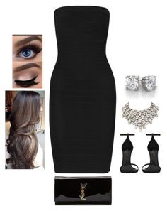 Untitled #235 by cin-jaz on Polyvore featuring Hervé Léger, Yves Saint Laurent, Simon Harrison, YSL, LBD, herveleger and bandagedress