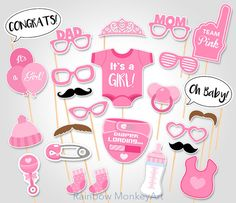 Baby Shower Photo Props   It's a Girl Baby by RainbowMonkeyArt