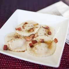 Pumpkin and Duck Ravioli in a Browned Butter Sauce with Bacon Lardons