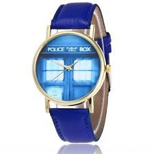 DOCTOR WHO TARDIS PRINT PU LEATHER DELUXE ADULT WATCH *NEW* RARE SALE!