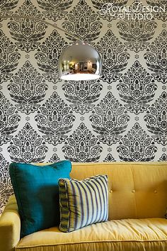 Indian Paisley Damask Wall Stencil by Royal Design Studio