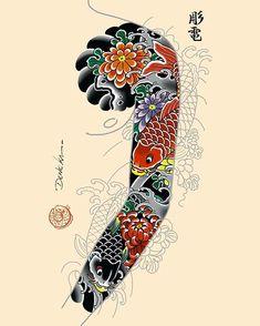 Dragons with sakuras sleeves and dragon front piece idea available! - For bookings denekahoriden@gmail.com!! - #dragon #ryu #sakuras… Koi Tattoo Sleeve, Koi Fish Tattoo, Full Sleeve Tattoos, Cover Up Tattoos, Tattoo Sleeve Designs, Tattoo Designs Men, Japanese Tattoo Art, Japanese Tattoo Designs, Japanese Sleeve Tattoos