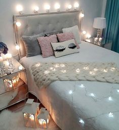 Teen Girl Bedrooms comfy decor - Most vibrant decorating tricks. Sectioned at teen girl bedrooms small space , pinned on this perfect moment 20190717 Cute Bedroom Ideas, Girl Bedroom Designs, Room Ideas Bedroom, Bedroom Themes, Bedroom Decor, Bedroom Lighting, Bedside Lighting, Bedroom Photos, Accent Lighting